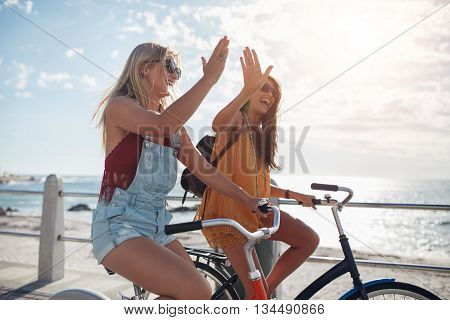 Best Friends Enjoying Riding Bicycles