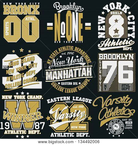 New York Sport wear typography emblem set, t-shirt stamp graphics, vintage tee print, athletic apparel design graphic print. vector