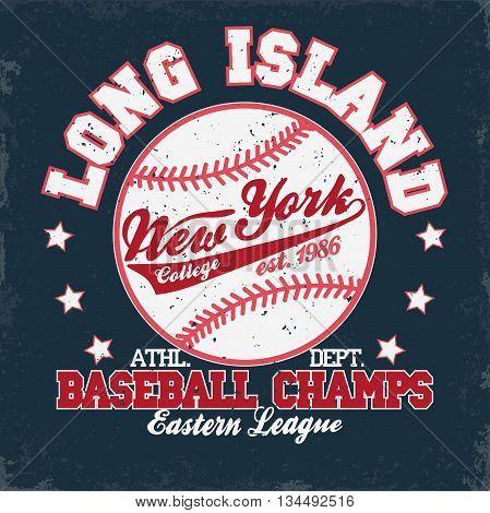 Baseball Fashion Typography stamp Graphics. New York Sport T-shirt print Design. Athletic apparel tee. USA original wear. Vector