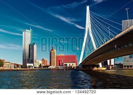 Rotterdam, Netherlands - 24 MAY 2015: Lomograph view on Erasmus Bridge in Rotterdam Netherlands