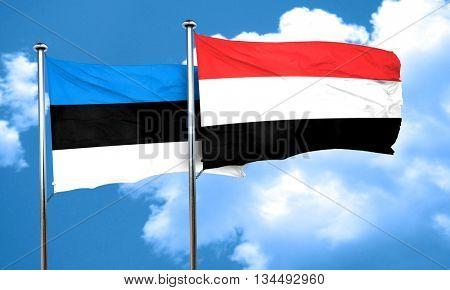 estonia flag with Yemen flag, 3D rendering poster