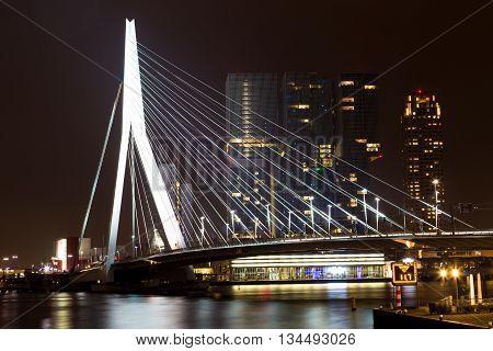 Rotterdam, Netherlands - 24 MAY 2015: Nightview on Erasmus Bridge in Rotterdam