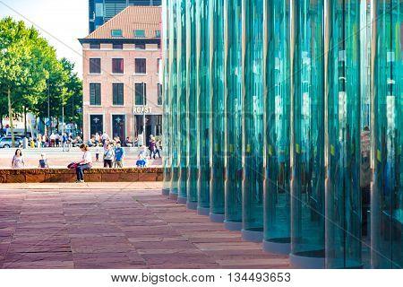 Antwerp, Belgium - 1 August 2015: Detail of the Museum aan de Stroom (MAS) along the river Scheldt in the Eilandje district of Antwerp Belgium