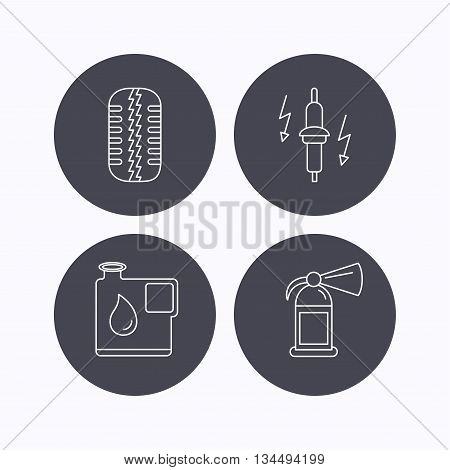 Wheel, fire extinguisher and spark plug icons. Fuel jerrycan, tire tread linear signs. Flat icons in circle buttons on white background. Vector