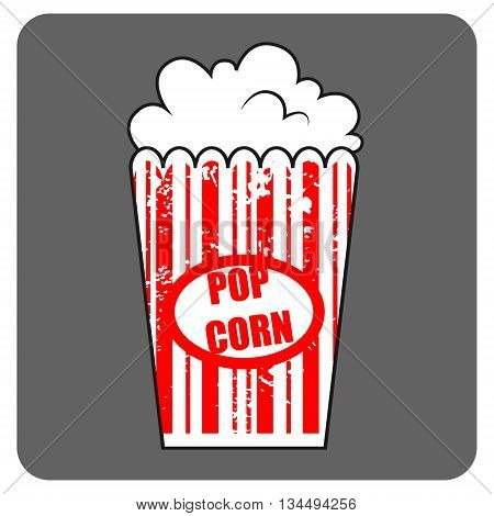 Graphic pop corn. Large box of cinema pop corn. American food. Fast food junk food. Vector isolated illustration of pop corn.