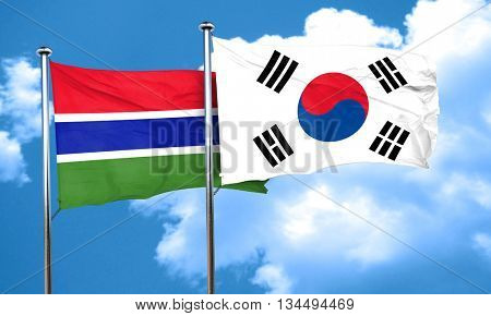Gambia flag with South Korea flag, 3D rendering poster