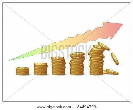 Golden coins increasing pillars and an arrow showing financial growth's risks and instability. Fund profit money or capital raising crush. Financial risks and crisis. Vector isolated illustration.
