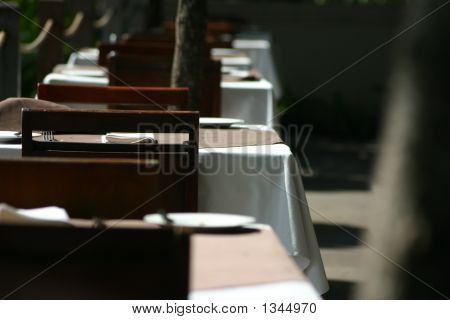 a row of dining tables