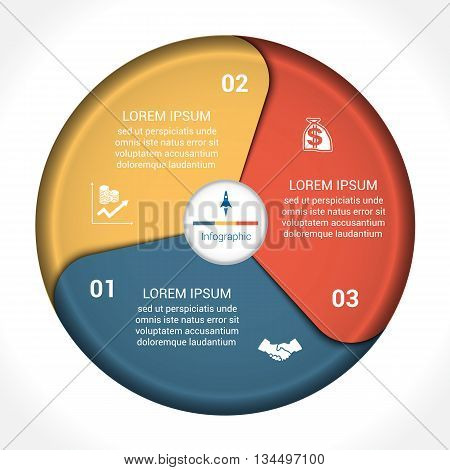 Template infographic three position steps parts with text area vector illustration colourful in the form of flower petals. Business pie chart diagram data.