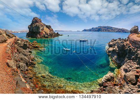 Armeni bay beach near Oia village at Santorini island in Aegean sea, Greece