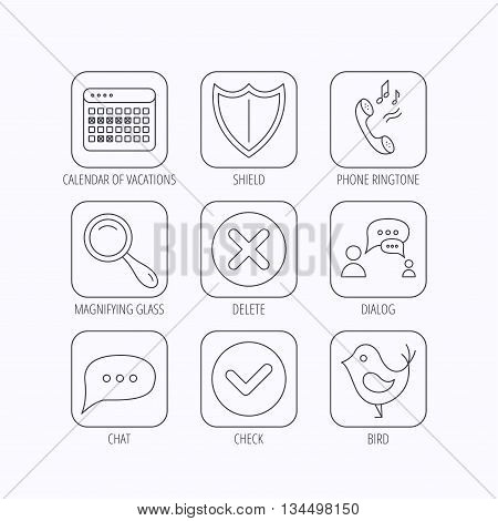 Phone ringtone, chat speech bubble icons. Shield, dialog and magnifier linear signs. Bird, calendar of vacations icons. Flat linear icons in squares on white background. Vector