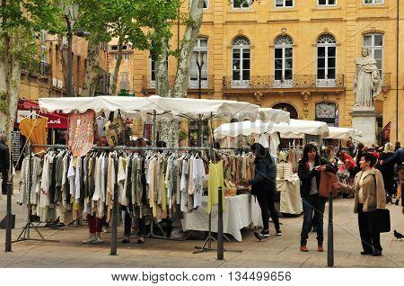 Aix en Provence France - april 21 2016 : the cours Mirabeau market