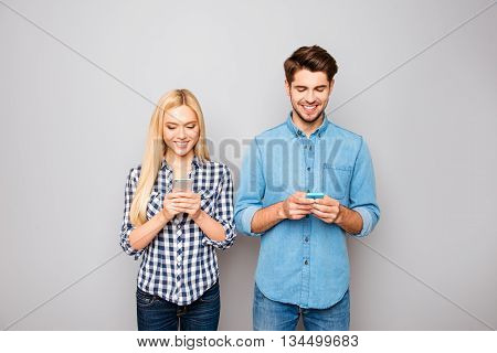 Happy Couple In Love Write  Sms With Telephones