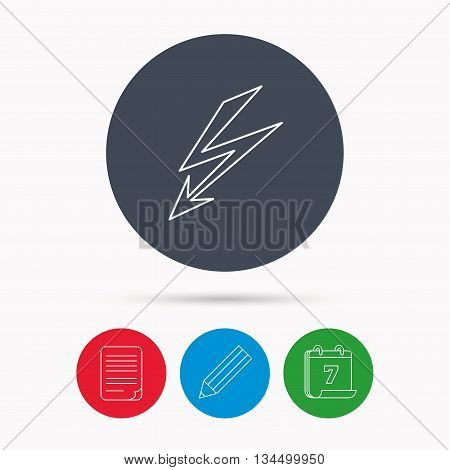 Lightening bolt icon. Power supply sign. Electricity symbol. Calendar, pencil or edit and document file signs. Vector