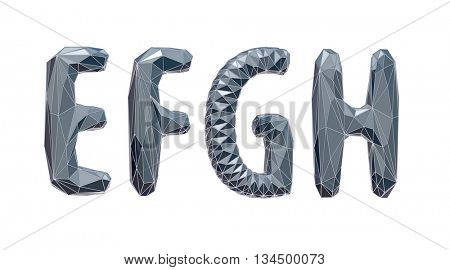 high-tech alphabet set,  E, F, J, H, 3d illustration