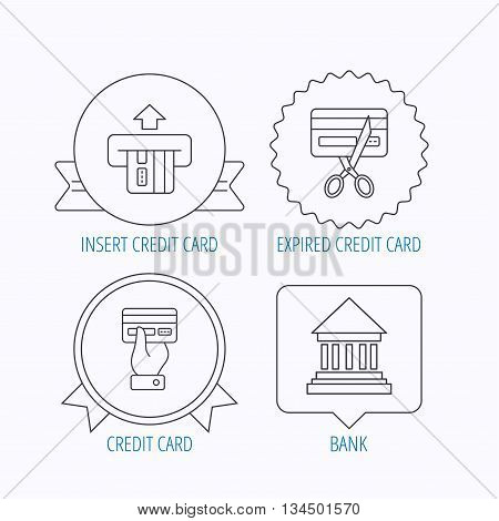 Bank credit card, expired card icons. Give credit card linear sign. Award medal, star label and speech bubble designs. Vector