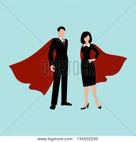 Employee in suit with red cloak waving in the wind. Man and woman coworkers. Vector flat personages.
