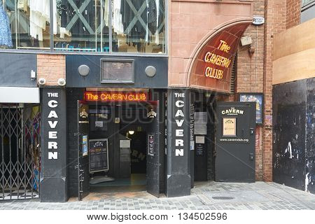 LIVERPOOL, UK. JUNE 09, 2016: Entrance to The Cavern Club, on Mathew Street, where The Beatles played their first concert.