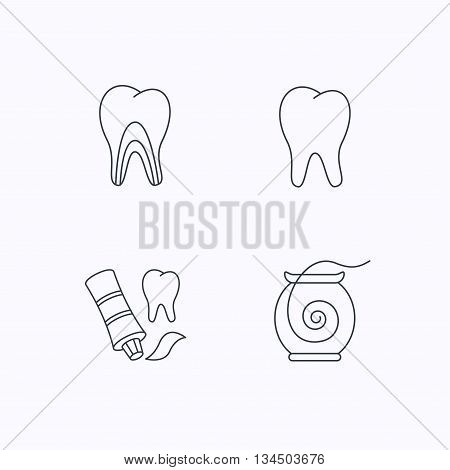 Tooth, dentinal tubules and dental floss icons. Toothpaste linear sign. Flat linear icons on white background. Vector