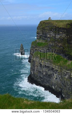 Beautiful towering Cliffs of Moher in Ireland.