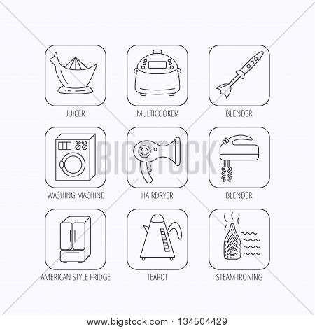Washing machine, teapot and blender icons. Refrigerator fridge, juicer and steam ironing linear signs. Hair dryer, juicer icons. Flat linear icons in squares on white background. Vector