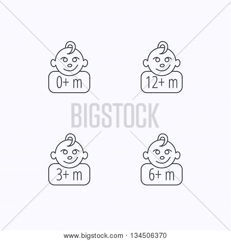 Infant child, 0 months child and toddler baby icons. 0-12 months child linear sign. Flat linear icons on white background. Vector