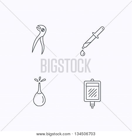 Blood donation, pipette and dental pliers icons. Clyster linear sign. Flat linear icons on white background. Vector