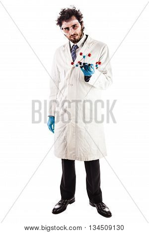 Young Doctor Holding A Tnt Molecule
