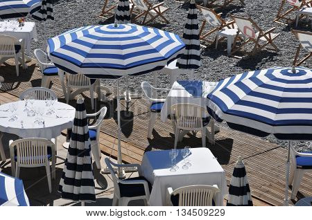 Nice France - april 19 2016 : gastronomic restaurant on the beach