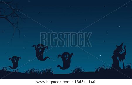 Silhouette of Halloween ghost and witch with blue backgronds