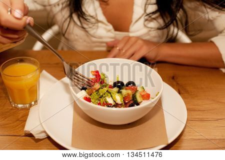 Goog breakfast for young brunette lady