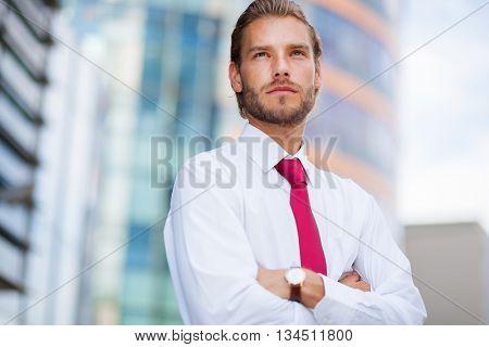Nordic blond businessman portrait  poster