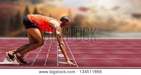 Composite image of of runner preparing for the start on race track