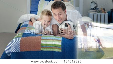Composite image of father and son are watching sport on television in the bedroom