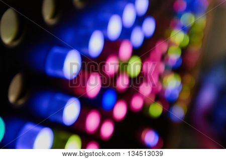 Light emitting diodes in color led handle buttons. blured