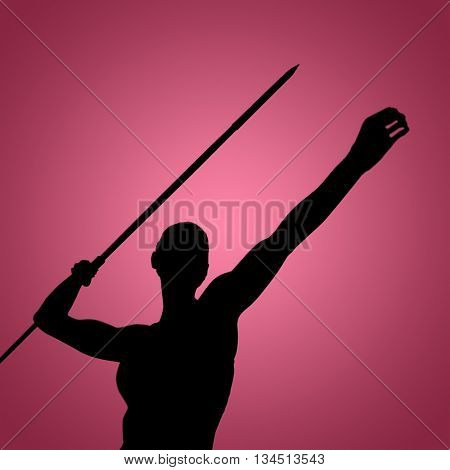 Low angle view of sportswoman is practising javelin throw against red vignette