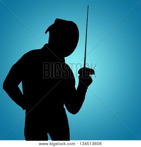Man wearing fencing suit practicing with sword against blue vignette background