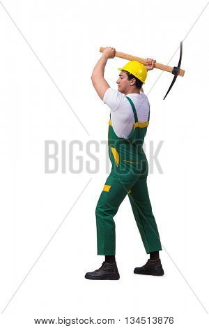 Man in green coveralls with axe isolated on white