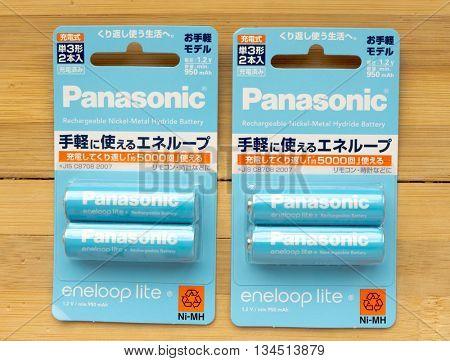 GOMEL, BELARUS - MAY 8, 2016: PANASONIC AA Eneloop alkaline battery. Panasonic Corporation, (Matsushita Electric Industrial), is a Japanese multinational electronics corporation, Osaka, Japan.