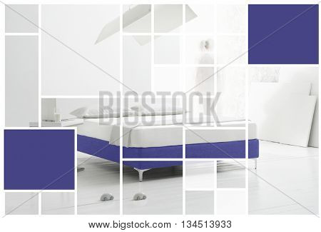 MODERN RECTANGLE SHAPES EFFECT ON MINIMAL BEDROOM INTERIOR IMAGE