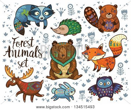 Set of cute woodland animals isolated on white background with text Wild and Free. Woodland tribal animals cute forest and nature design elements vector. Woodland nursery wall art with fox, beaver, raccoon, bear, hedgehog, deer and owl