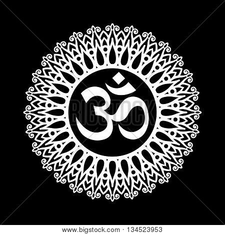 Om Symbol Aum Sign with Decorative Indian Ornament Mandala on Black