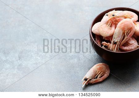 Delicious shrimps on the table