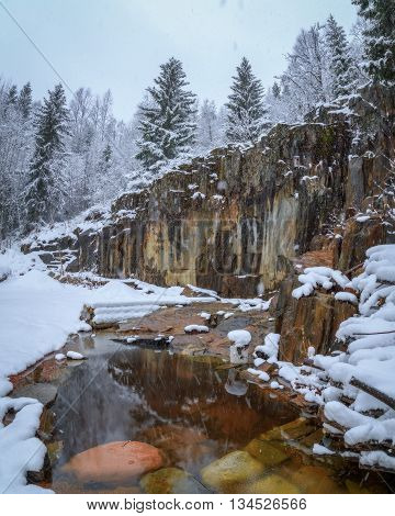 Pond in a rock mountain garden during snow