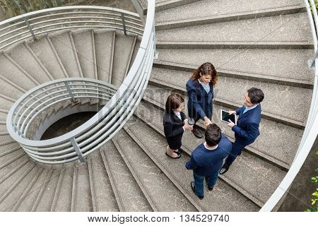 Top view of business people meet at outdoor