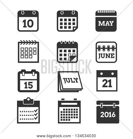Calendar vector icons set. Calendar page symbol and pictogram illustration calendars of element