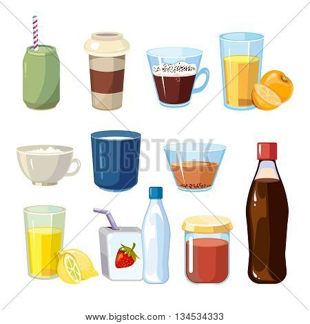 Non-alcoholic beverages vector set in cartoon style. Beverage of set drink and illustration non-alcoholic freshness beverage collection
