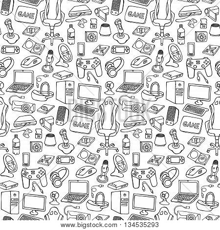 Hand drawn gamer seamless pattern with doodle elements on white background. Gamer gadgets wallpaper
