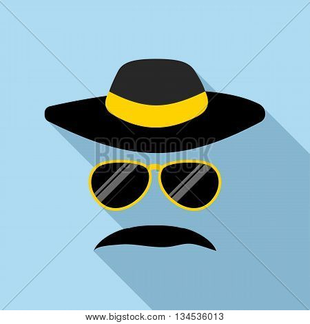 Detective incognito icon in flat style with long shadow. Police symbol
