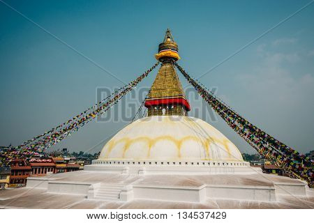 Boudhanath stupa in Kathmandu, Nepal. Film emulation filter applied.